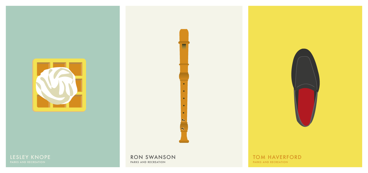 Illustration of Lesley Knope, Ron Swanson, Tom Haverford