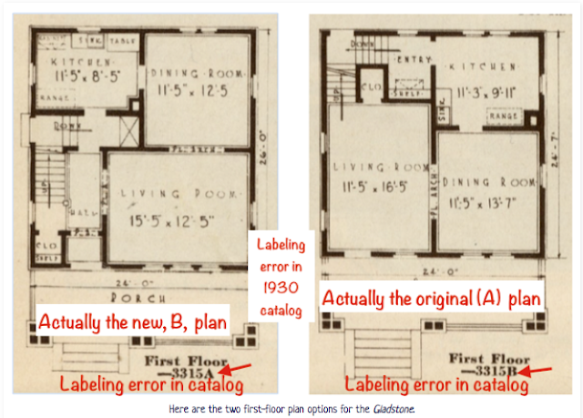 catalog images of the two floorplans offered by Sears for the Sears Gladsteone, beginning in 1930
