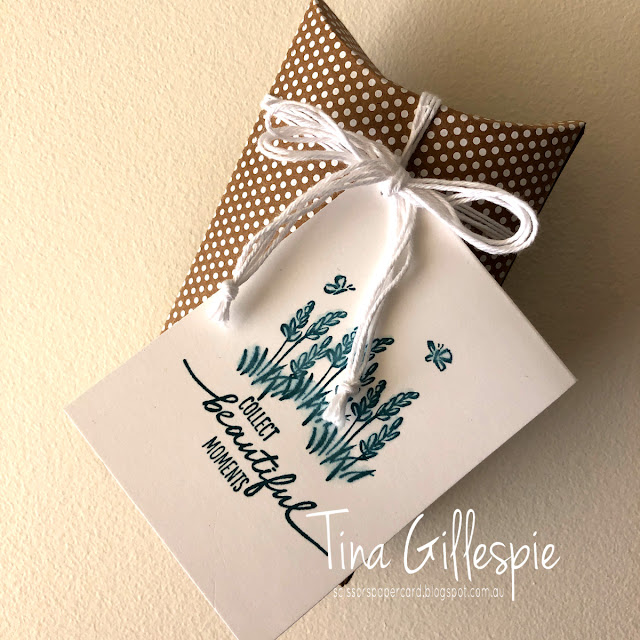 scissorspapercard, Stampin' Up!, Sydney OnStage Presentation, Beautiful Moments, Aqua Painter, PillowBox, Gift Tag