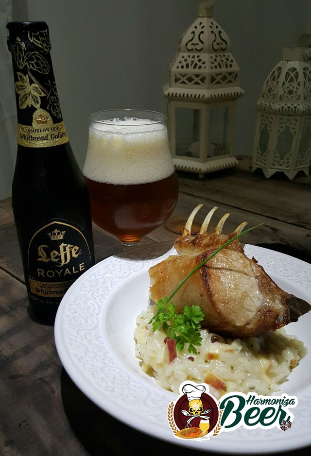 Cerveja Leffe Royale Whitbread Golding harmonizada com carré de leitão com risoto de maçãs