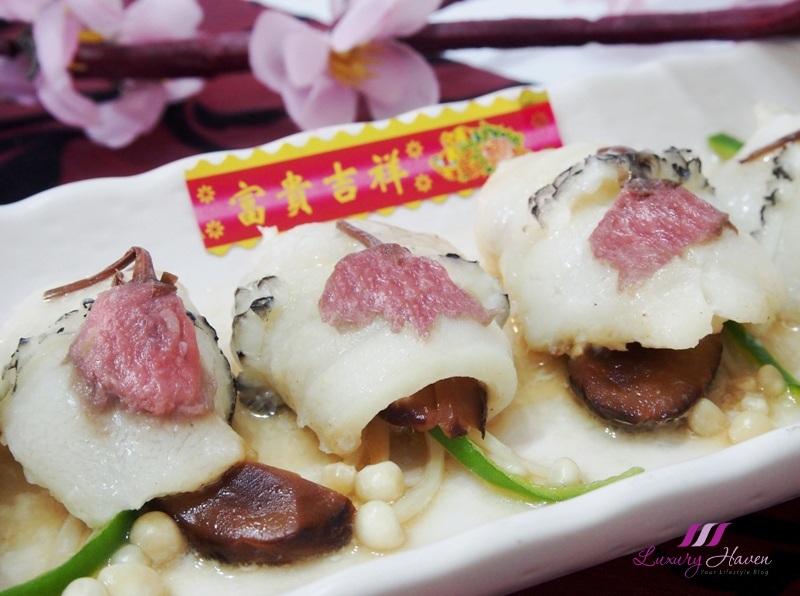 cny steamed cod fish rolls sakura cherry blossom