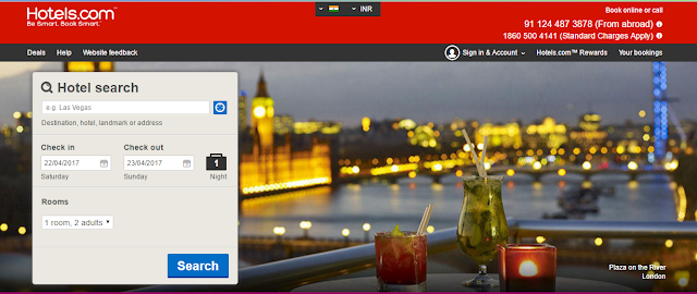 Hotel.com homepage