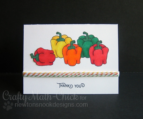 Pepper thank you card by Crafty Math-Chick | Vegetable Garden stamp set by Newton's Nook Designs #newtonsnook