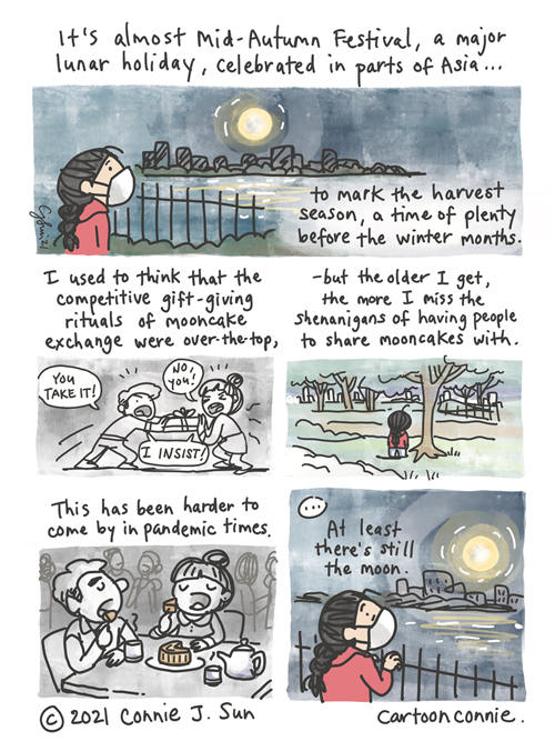 5-panel comic about Mid-Autumn Festival and mooncake rituals by Connie Sun, cartoonconnie