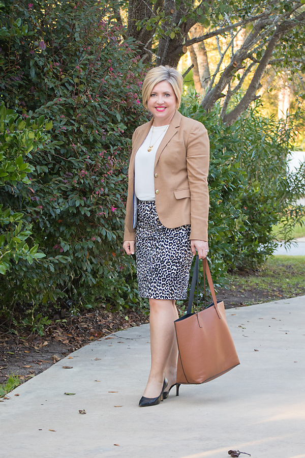 How to wear a leopard print pencil skirt to work