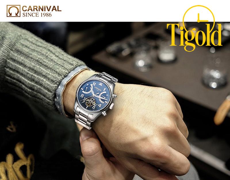 đồng hồ nam carnival chính hãng dây thép