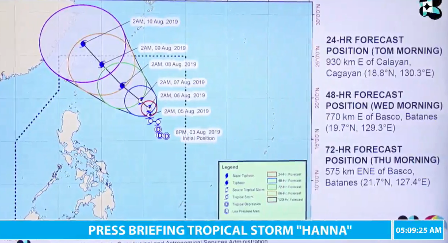 Latest track of Tropical Storm Hanna