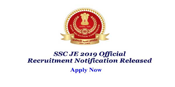 SSC JE Junior Engineer Online Form 2019, SSC JE 2019