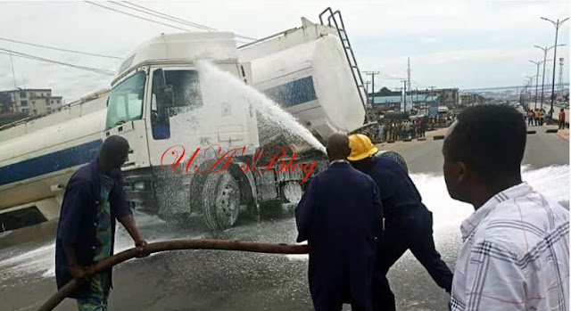 Another Petrol Tanker Falls In Onitsha (Photo)