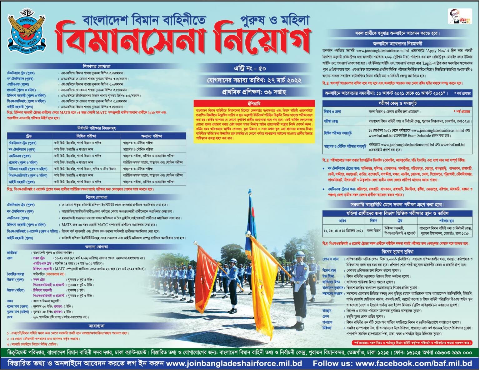 বাংলাদেশ বিমান বাহিনী নিয়োগ ২০২১ সার্কুলার | বাংলাদেশ বিমান বাহিনী নিয়োগ