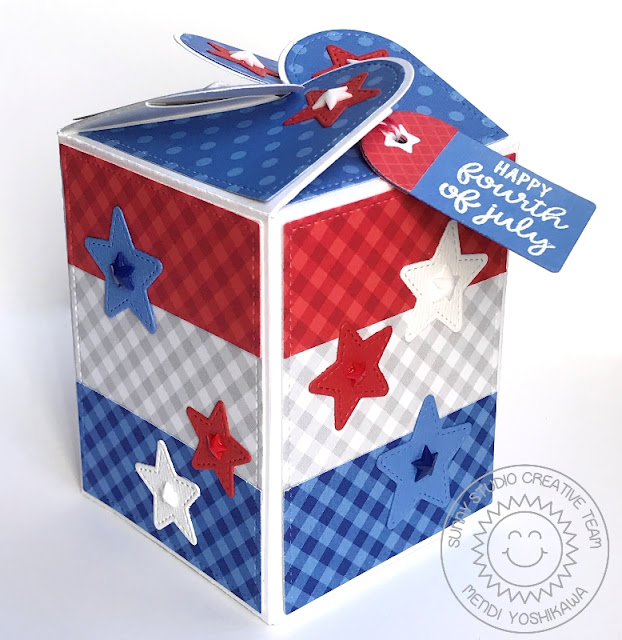 Sunny Studio Stamps: Fourth of July Red, White & Blue Patriotic Star Treat Box (using Wrap Around Box dies)