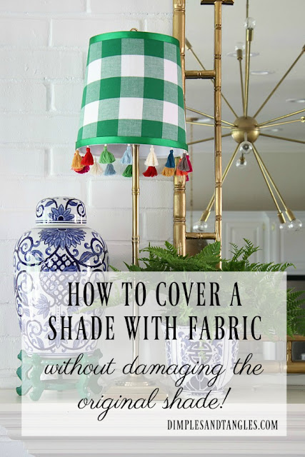 fabric covered lamp shade tutorial, gingham lamp shade