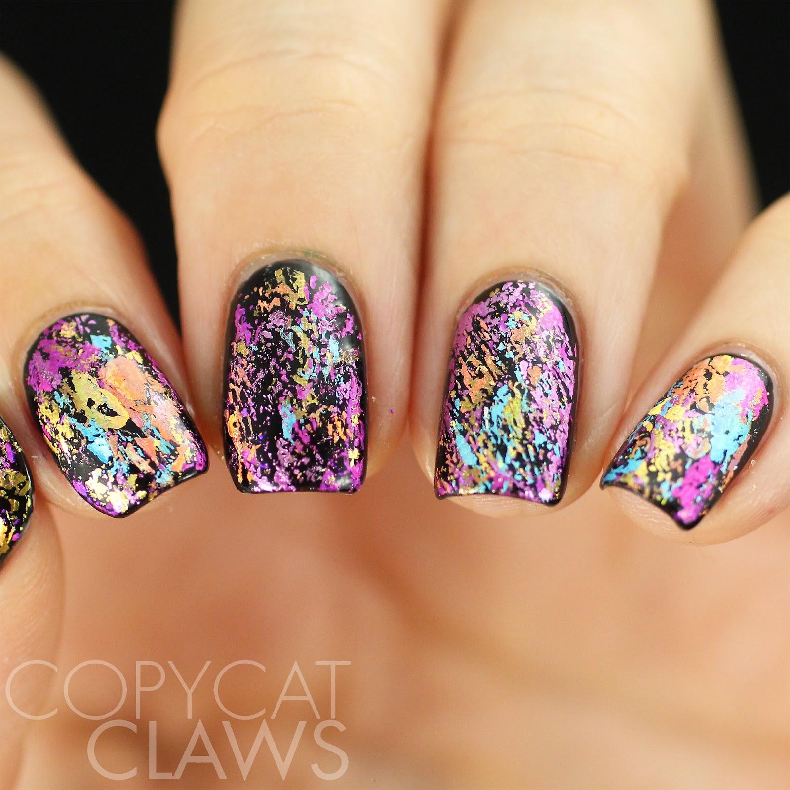 Copycat claws 26 great nail art ideas black base - Foil nail art ...
