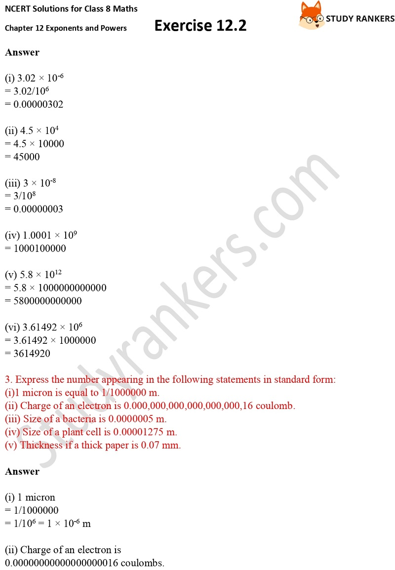 NCERT Solutions for Class 8 Maths Ch 12 Exponents and Powers Exercise 12.2 2