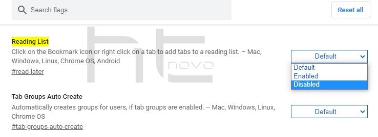 Come rimuovere Elenco di lettura in Google Chrome