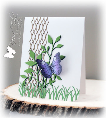 Diana Nguyen, Hero Arts, butterfly, Memory Box, trellis