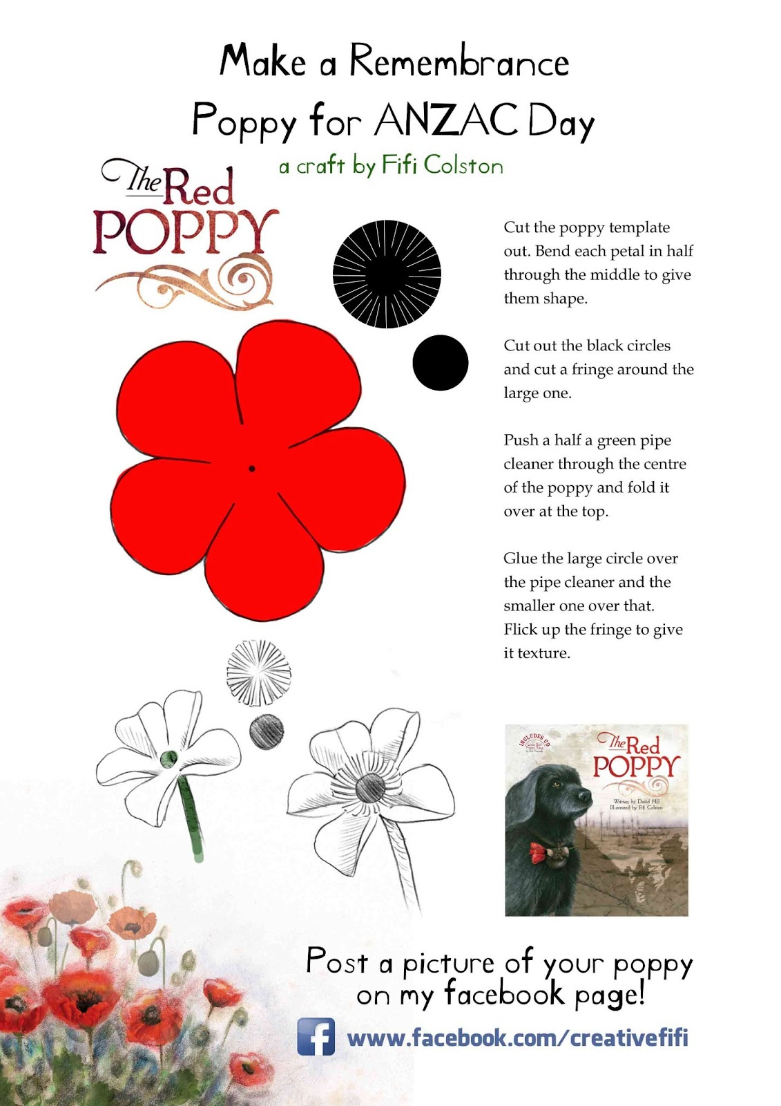 I Ve Updated My Poppy Template From Last Year In Time For Anzac Day Here It Is Feel Free To Use And Make A Field Full Of Poppies Remembrance