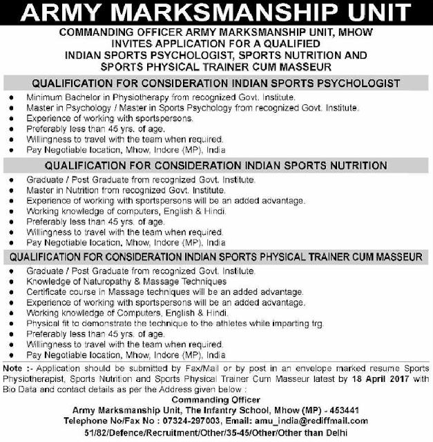 Army Marksmanship Unit MHOW Jobs 2017