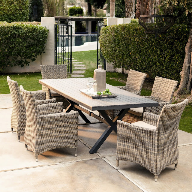 Wicker patio furniture with dining table sets