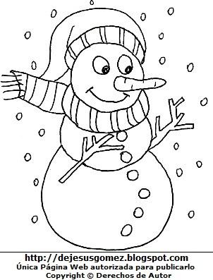 Dibujo de muñeco de nieve con chalina para colorear pintar imprimir recortar y pegar. Dibujo de muñeco de nieve de Jesus Gomez