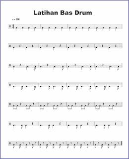 gambar notasi bas drum pada not balok