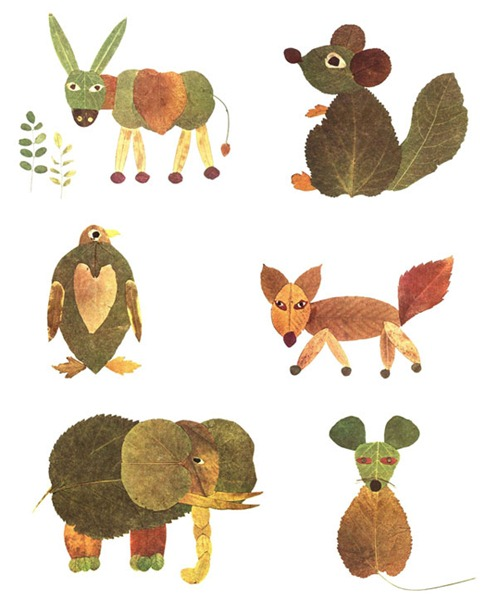 muchos animales manualidades con hojas secas de otoño,