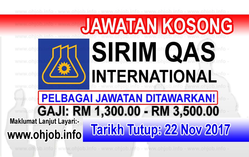 Jawatan Kerja Kosong SIRIM QAS International logo www.ohjob.info november 2017