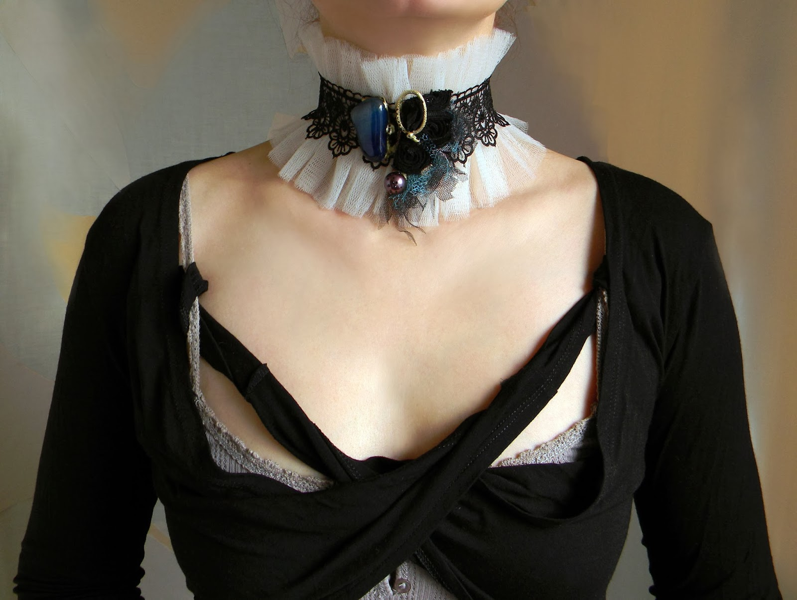 Ruffled Tulle and Lace Victorian Choker, Gothic Neck Corset with Raw Blue Agate and Embroidery