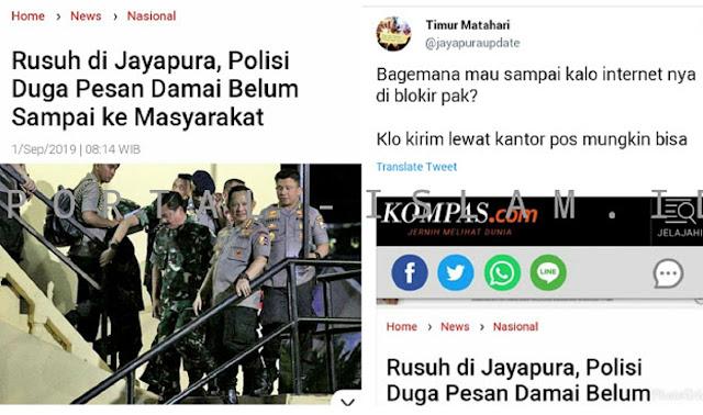 Polri menilai bahwa pesan damai yang telah disepakati pemerintah daerah dengan tokoh masyarakat setempat belum sampai kepada masyarakat sehingga masih terjadi kerusuhan diJayapura, Papua, pada Kamis 29 Agustus 2019.
