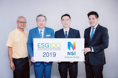 นายสมบุญ ฟูศรีบุญ (ที่สองจากซ้าย) กรรมการผู้อำนวยการ และนายวรวัจน์ เจริญชัยพงศ์ กรรมการรองกรรมการผู้อำนวยการ (คนแรกจากขวา) บริษัท นำสินประกันภัย จำกัด (มหาชน) หรือ NSI รับมอบรางวัล ESG100 Company จากนายพิพัฒน์ ยอดพฤติการ (ที่สองจากขวา) ประธานสถาบันไทยพัฒน์ ในฐานะเป็นบริษัทที่มีการดำเนินงานโดดเด่นด้านสิ่งแวดล้อม สังคม และธรรมาภิบาล (ESG) ในกลุ่ม ธุรกิจการเงิน (Financials) และยังเป็นบริษัทที่อยู่ในทำเนียบ ESG100 ติดต่อกัน 5 ปี ณ อาคารสำนักงานใหญ่ นำสินประกันภัย ถ.กรุงเทพ-นนทบุรี