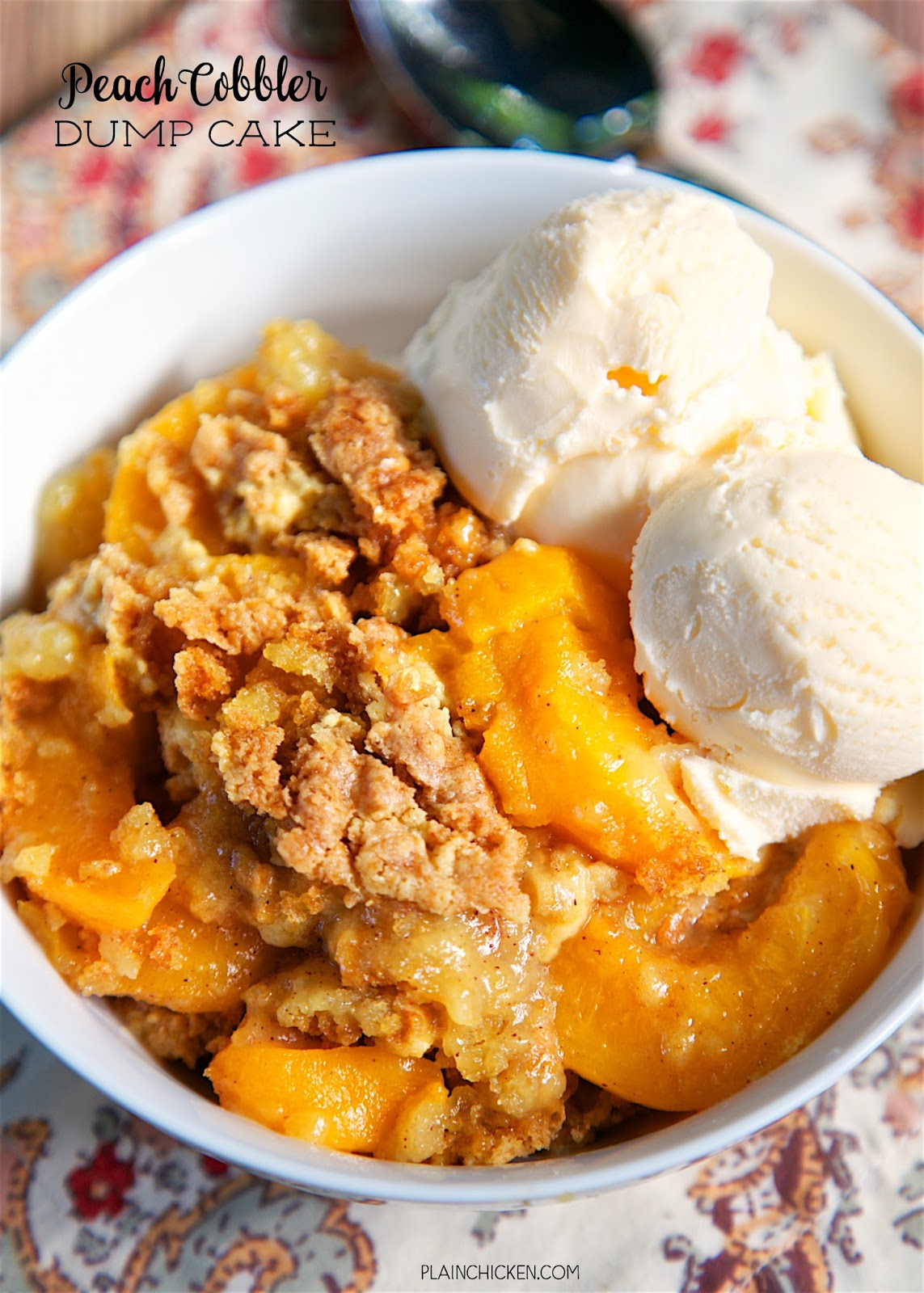 Peach Cobbler Dump Cake - only 4 ingredients for the most delicious dessert ever! LOVE this!!! Literally takes a minute to make and everyone loved it. There were no leftovers! Serve warm with some vanilla ice cream. YUM!