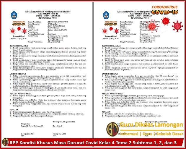 RPP Kondisi Khusus Masa Darurat Covid Kelas 4 Tema 2 Subtema 1, 2, dan 3