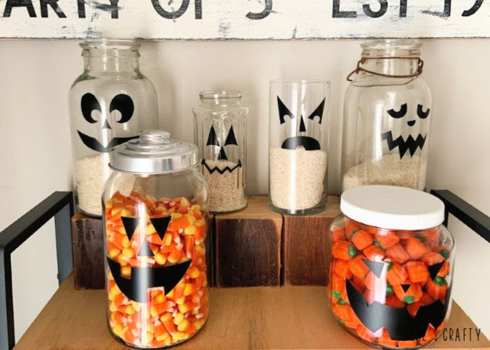 Pumpkin face candy jars