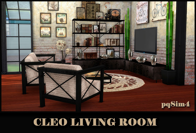 Cleo Living Beige. Sims 4 CC.
