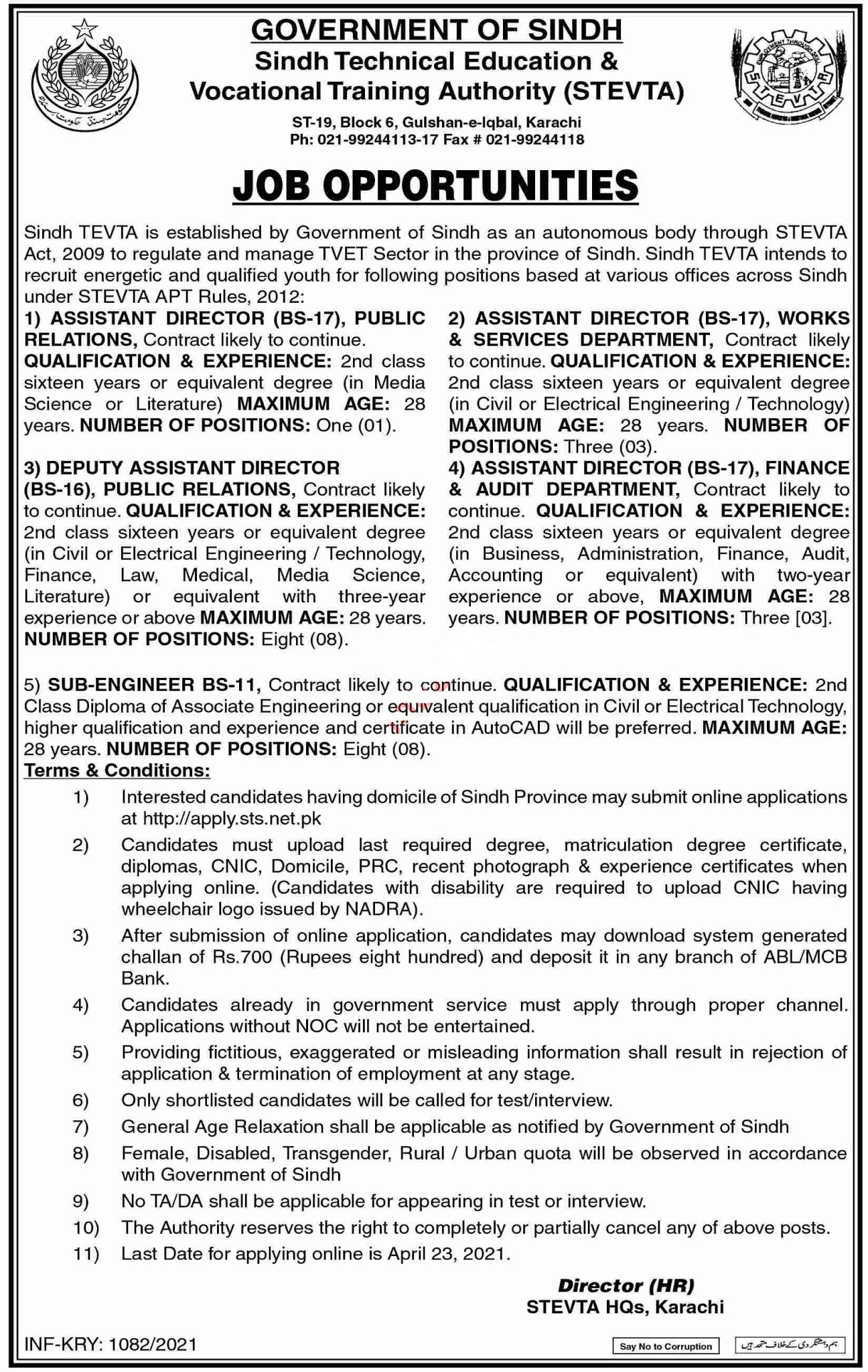 Sindh Technical Education and Vocational Training Authority STEVTA Jobs 2021 For Finance, Assistant Director Audit, Sub Engineer, Associate Engineer & more