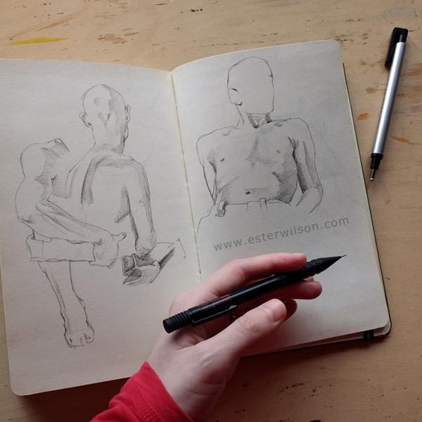 Figure drawing in the sketchbook