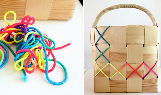 cestos coloridos, cesto de palha, cestos de vime, faça você mesmo, diy, decoração, decor, home decor, straw basket,