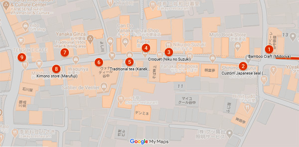 Map of Yanaka Ginza
