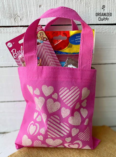 Photo of a stenciled Dollar Tree child's party treat bag