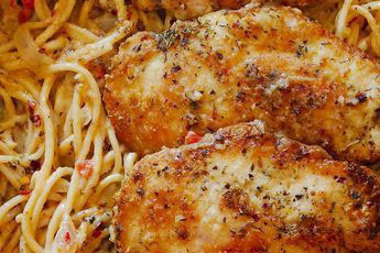 Chicken Pasta in Creamy White Wine Parmesan Cheese Sauce Recipes