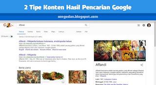 2 Tipe Konten Hasil Pencarian Google