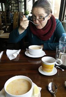 Enjoying chicken soup