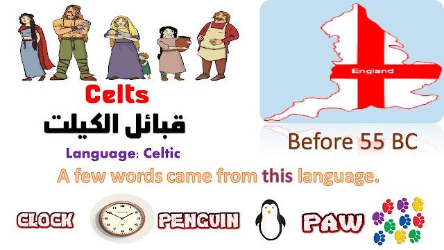 تاريخ اللغة الإنجليزية , قبائل الكيلتس