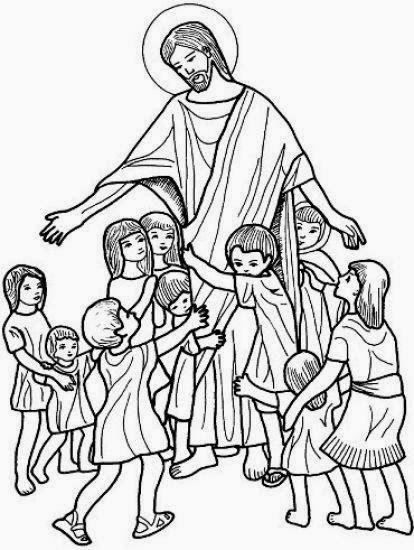 Imagenes Cristianas Para Colorear Dibujo De Jesus Con Los Niños