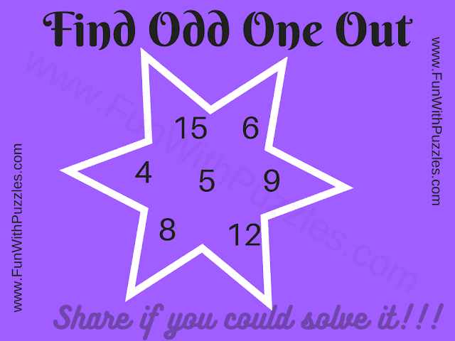 Find the Odd One Out.  4 5 15 6 9 8 12