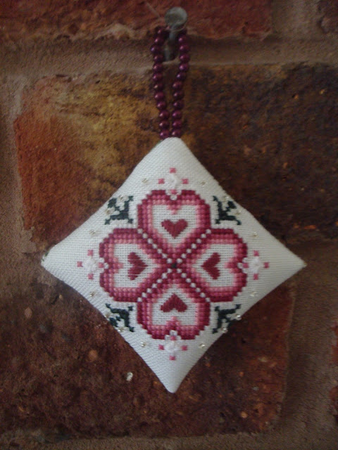 Just Nan Christmas Rose Cross Stitch Ornament