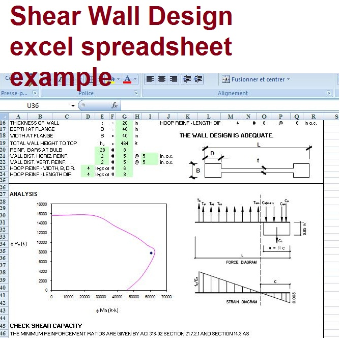 Shear Wall Design Xls : Shear wall design based on aci excel spreadsheet civil engineering program