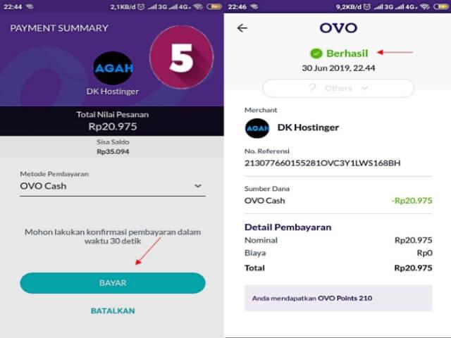 Bayar domain via OVO