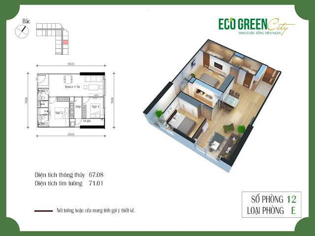Thiết kế căn hộ 12 tòa CT2 Eco green city