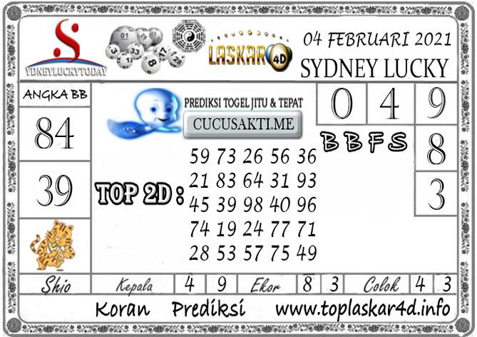 Prediksi Sydney Lucky Today LASKAR4D 04 FEBRUARI 2021